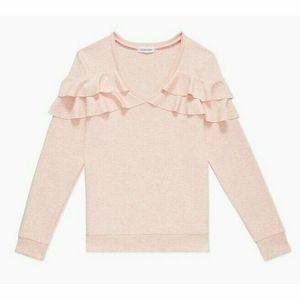Calvin Klein Women's Heathered V-Neck Ruffle Sleeve Top , Rosie Cheeks , Medium